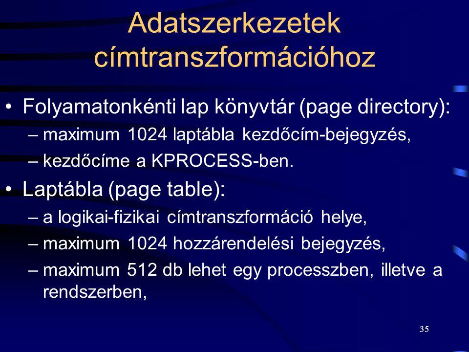 35 Adatszerkezetek címtranszformációhoz Folyamatonkénti lap könyvtár (page directory): –maximum 1024 laptábla kezdőcím-bejegyzés, –kezdőcíme a KPROCES