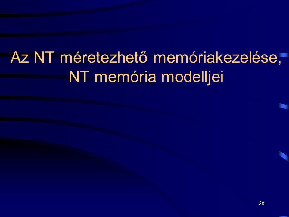 36 Az NT méretezhető memóriakezelése, NT memória modelljei