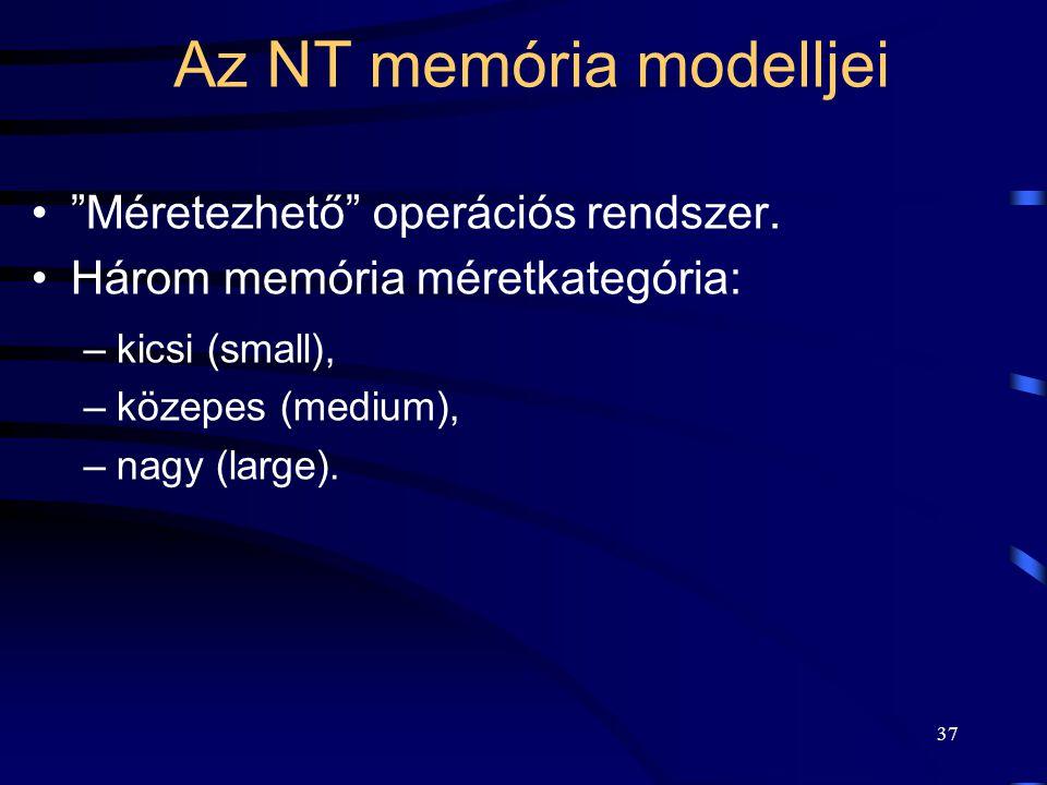 """37 Az NT memória modelljei """"Méretezhető"""" operációs rendszer. Három memória méretkategória: –kicsi (small), –közepes (medium), –nagy (large)."""
