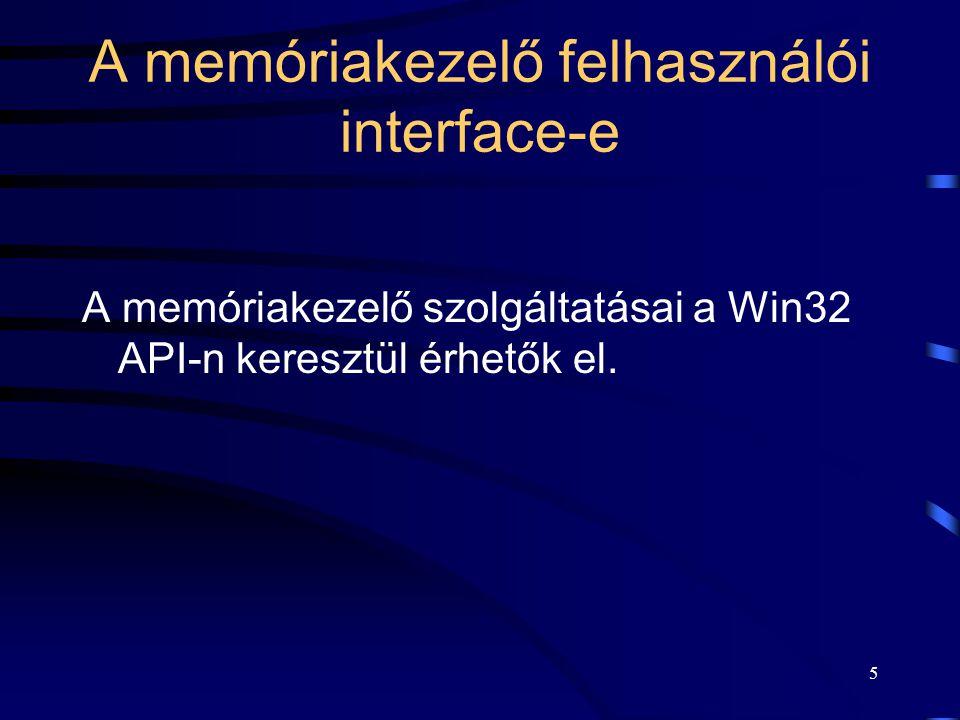 5 A memóriakezelő felhasználói interface-e A memóriakezelő szolgáltatásai a Win32 API-n keresztül érhetők el.