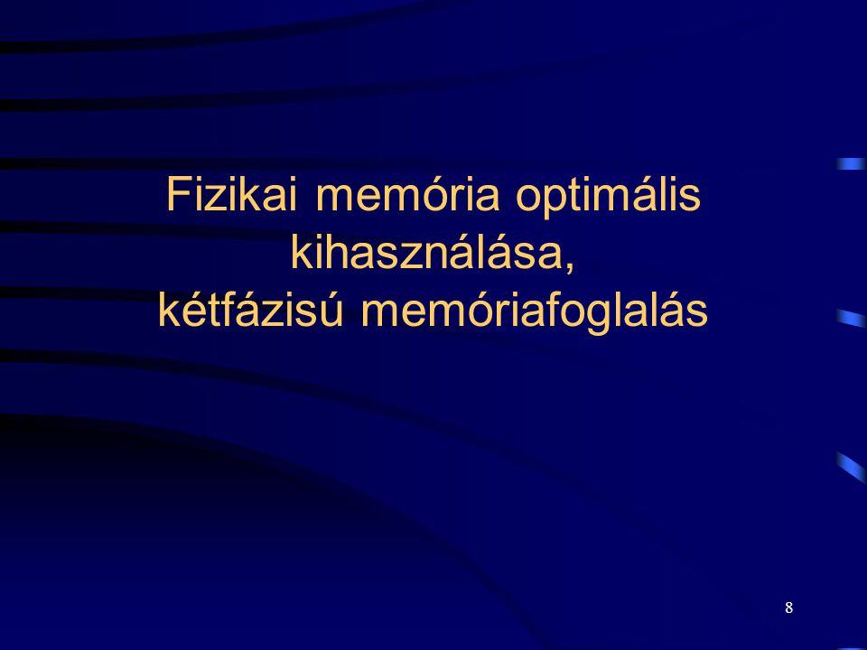 8 Fizikai memória optimális kihasználása, kétfázisú memóriafoglalás