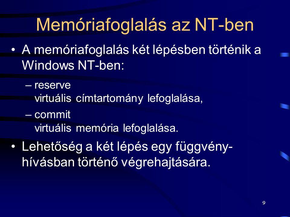 9 Memóriafoglalás az NT-ben A memóriafoglalás két lépésben történik a Windows NT-ben: –reserve virtuális címtartomány lefoglalása, –commit virtuális m