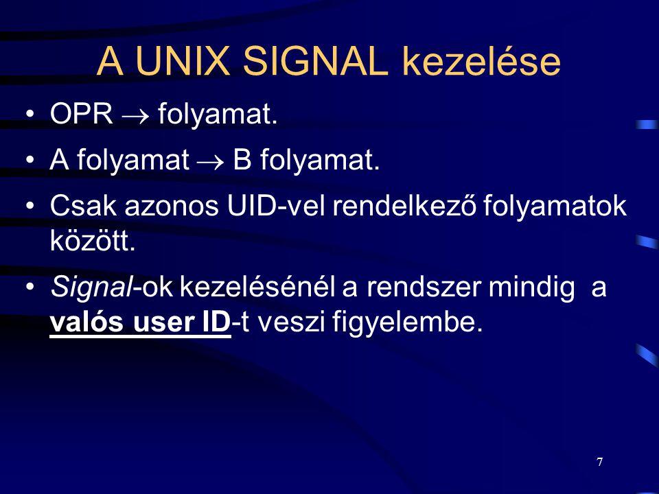 7 A UNIX SIGNAL kezelése OPR  folyamat. A folyamat  B folyamat.