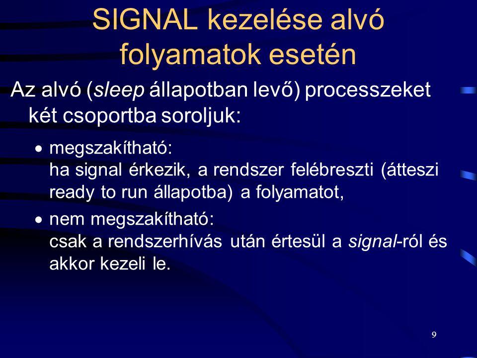 9 SIGNAL kezelése alvó folyamatok esetén Az alvó (sleep állapotban levő) processzeket két csoportba soroljuk:  megszakítható: ha signal érkezik, a rendszer felébreszti (átteszi ready to run állapotba) a folyamatot,  nem megszakítható: csak a rendszerhívás után értesül a signal-ról és akkor kezeli le.