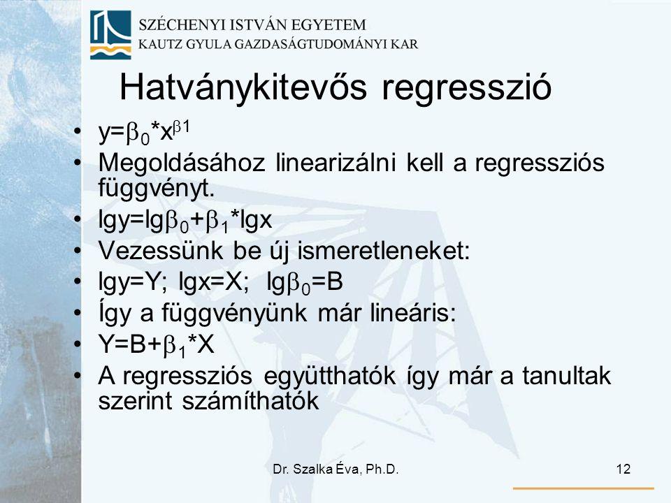 Dr. Szalka Éva, Ph.D.12 Hatványkitevős regresszió y=  0 *x  1 Megoldásához linearizálni kell a regressziós függvényt. lgy=lg  0 +  1 *lgx Vezessün