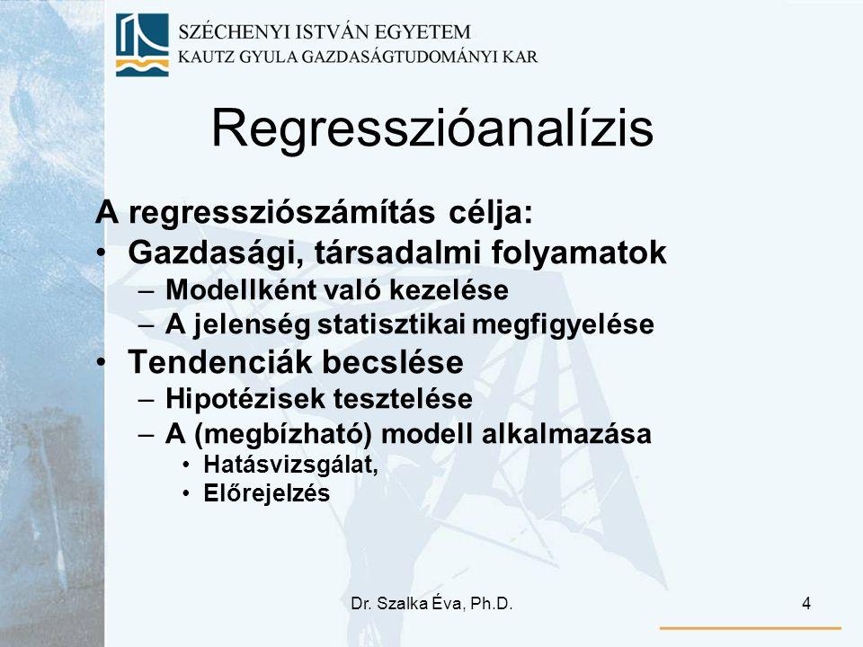 Dr. Szalka Éva, Ph.D.4 Regresszióanalízis A regressziószámítás célja: Gazdasági, társadalmi folyamatok –Modellként való kezelése –A jelenség statiszti