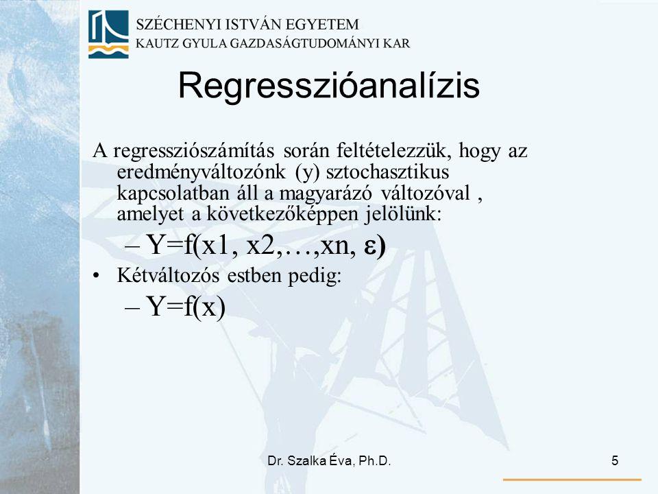Dr. Szalka Éva, Ph.D.5 Regresszióanalízis A regressziószámítás során feltételezzük, hogy az eredményváltozónk (y) sztochasztikus kapcsolatban áll a ma
