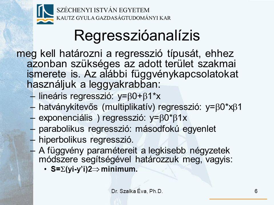 Dr. Szalka Éva, Ph.D.6 Regresszióanalízis meg kell határozni a regresszió típusát, ehhez azonban szükséges az adott terület szakmai ismerete is. Az al