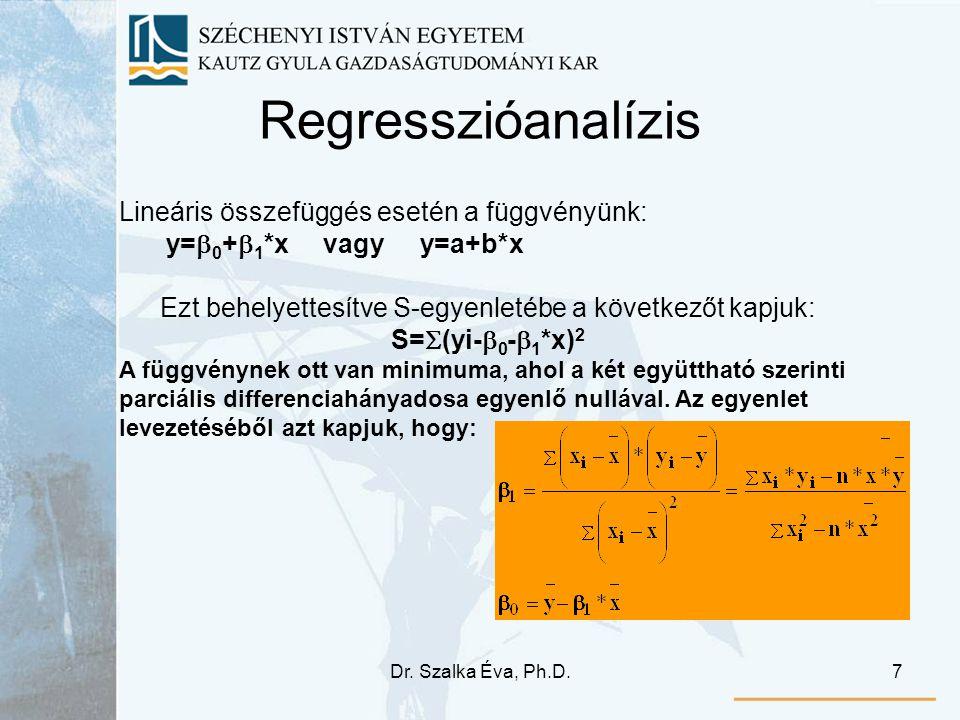 Dr. Szalka Éva, Ph.D.7 Regresszióanalízis Lineáris összefüggés esetén a függvényünk: y=  0 +  1 *x vagy y=a+b*x Ezt behelyettesítve S-egyenletébe a