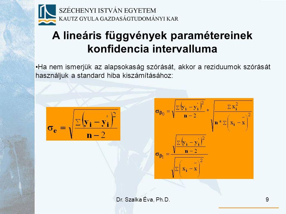 Dr. Szalka Éva, Ph.D.9 A lineáris függvények paramétereinek konfidencia intervalluma Ha nem ismerjük az alapsokaság szórását, akkor a reziduumok szórá
