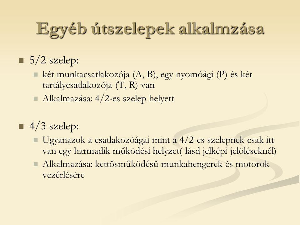 Egyéb útszelepek alkalmzása 5/2 szelep: két munkacsatlakozója (A, B), egy nyomóági (P) és két tartálycsatlakozója (T, R) van Alkalmazása: 4/2-es szele