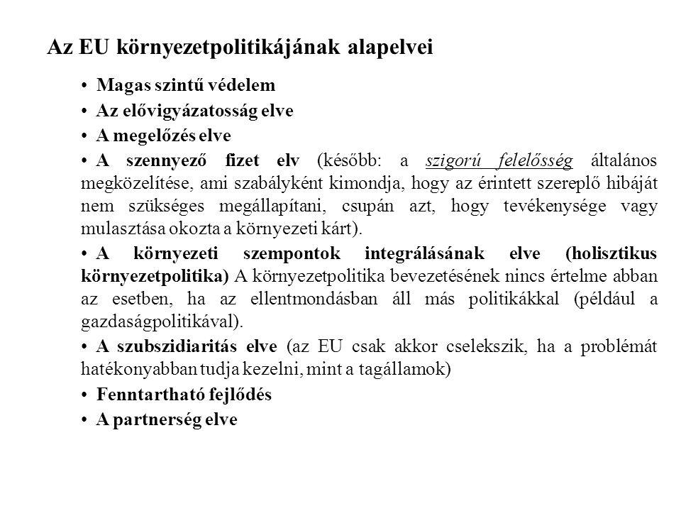Az EU környezetpolitikájának alapelvei Magas szintű védelem Az elővigyázatosság elve A megelőzés elve A szennyező fizet elv (később: a szigorú felelősség általános megközelítése, ami szabályként kimondja, hogy az érintett szereplő hibáját nem szükséges megállapítani, csupán azt, hogy tevékenysége vagy mulasztása okozta a környezeti kárt).