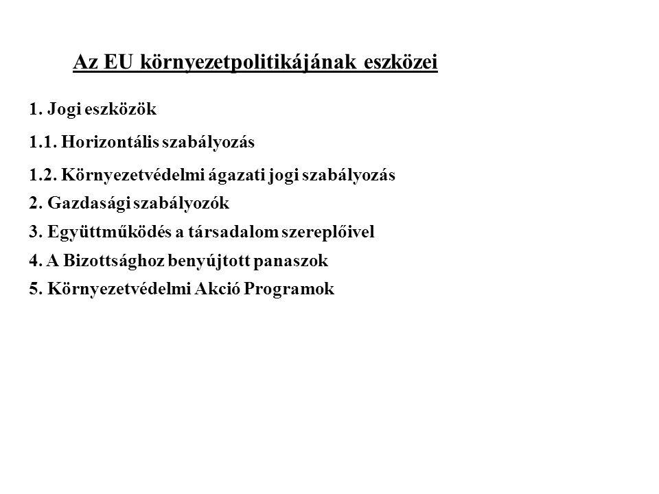 Az EU környezetpolitikájának eszközei 1.Jogi eszközök 1.1.