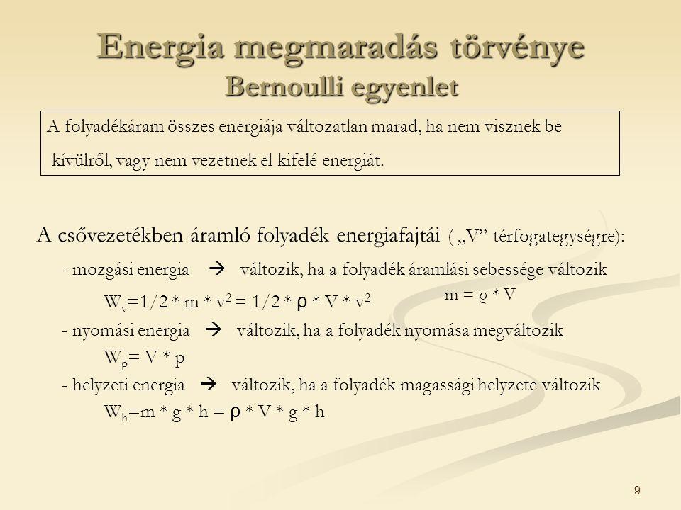 """9 Energia megmaradás törvénye Bernoulli egyenlet A csővezetékben áramló folyadék energiafajtái ( """"V"""" térfogategységre): - mozgási energia  változik,"""