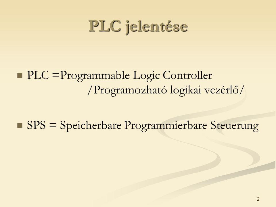 2 PLC jelentése PLC =Programmable Logic Controller /Programozható logikai vezérlő/ SPS = Speicherbare Programmierbare Steuerung