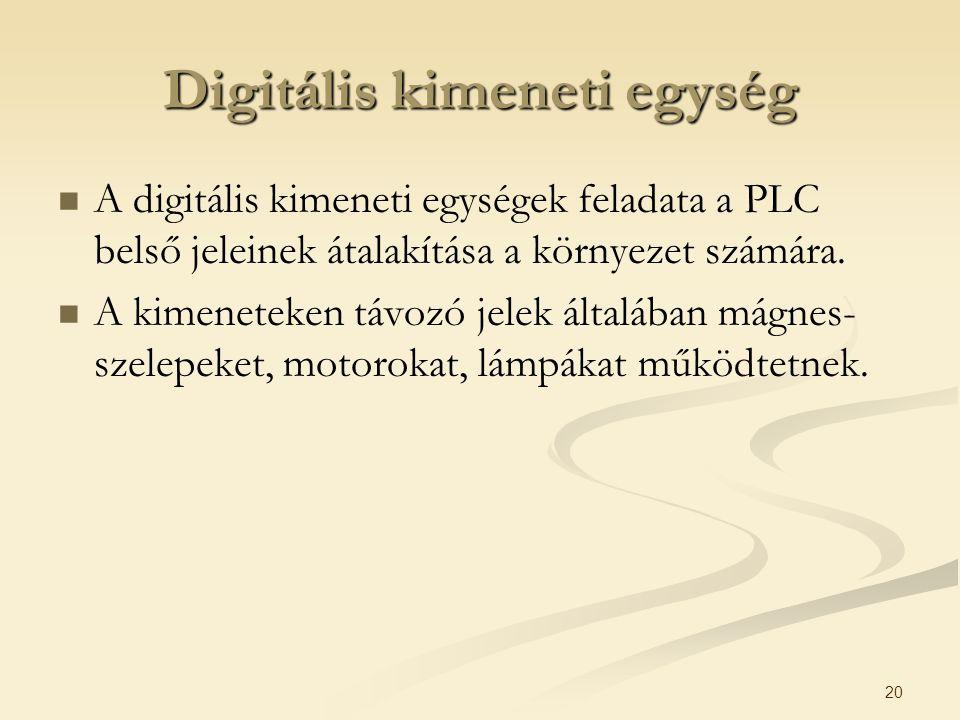 20 Digitális kimeneti egység A digitális kimeneti egységek feladata a PLC belső jeleinek átalakítása a környezet számára. A kimeneteken távozó jelek á