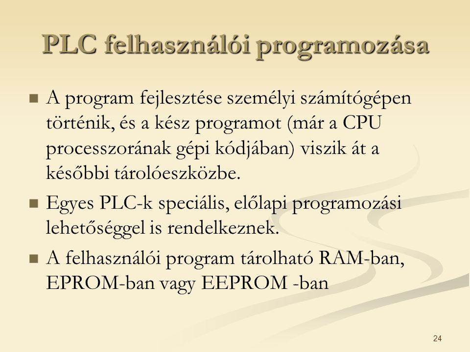 24 PLC felhasználói programozása A program fejlesztése személyi számítógépen történik, és a kész programot (már a CPU processzorának gépi kódjában) vi