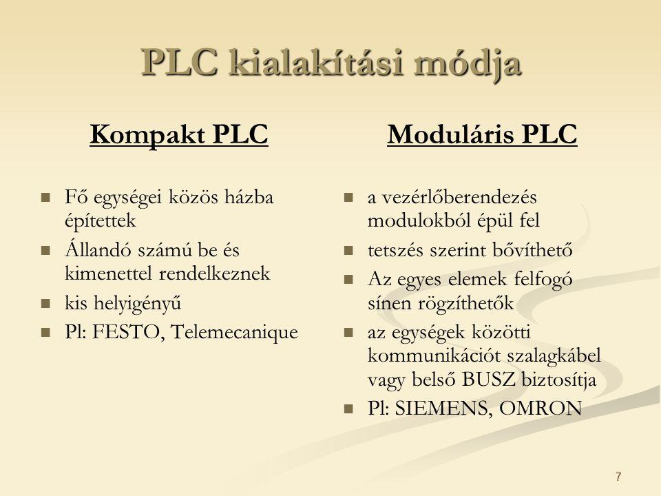 7 PLC kialakítási módja Kompakt PLC Fő egységei közös házba építettek Állandó számú be és kimenettel rendelkeznek kis helyigényű Pl: FESTO, Telemecani