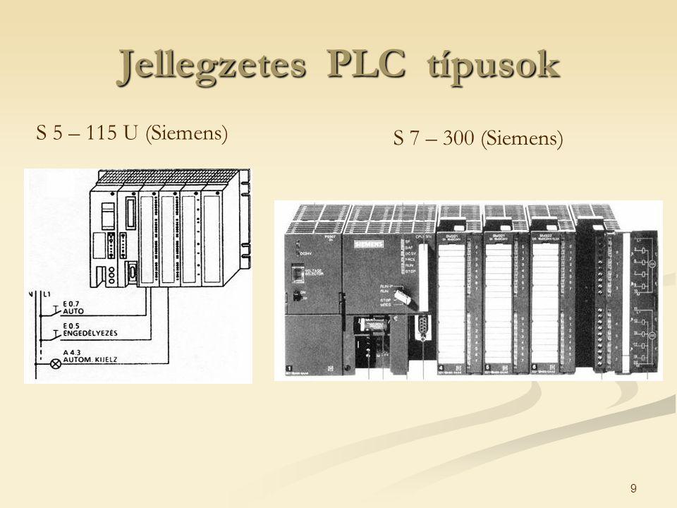 9 Jellegzetes PLC típusok S 5 – 115 U (Siemens) S 7 – 300 (Siemens)