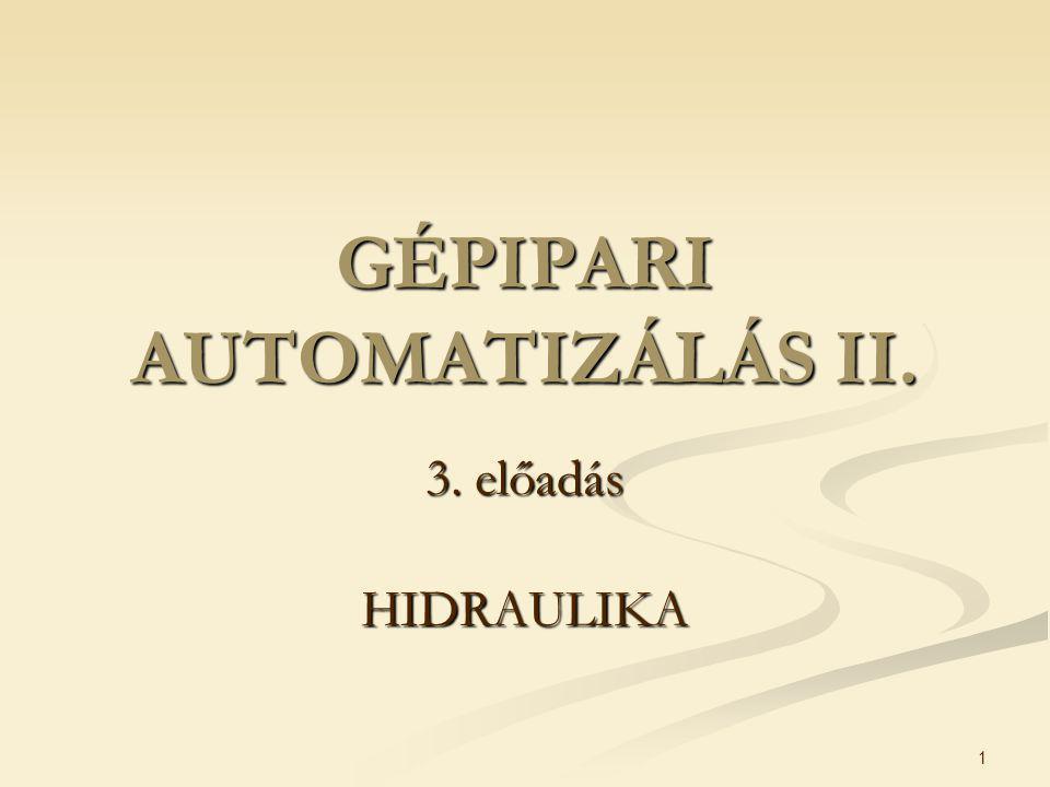 1 GÉPIPARI AUTOMATIZÁLÁS II. 3. előadás HIDRAULIKA