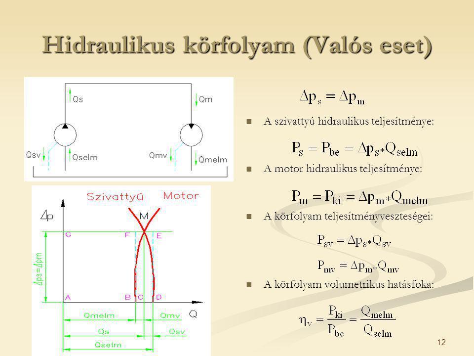 12 Hidraulikus körfolyam (Valós eset) A szivattyú hidraulikus teljesítménye: A motor hidraulikus teljesítménye: A körfolyam teljesítményveszteségei: A