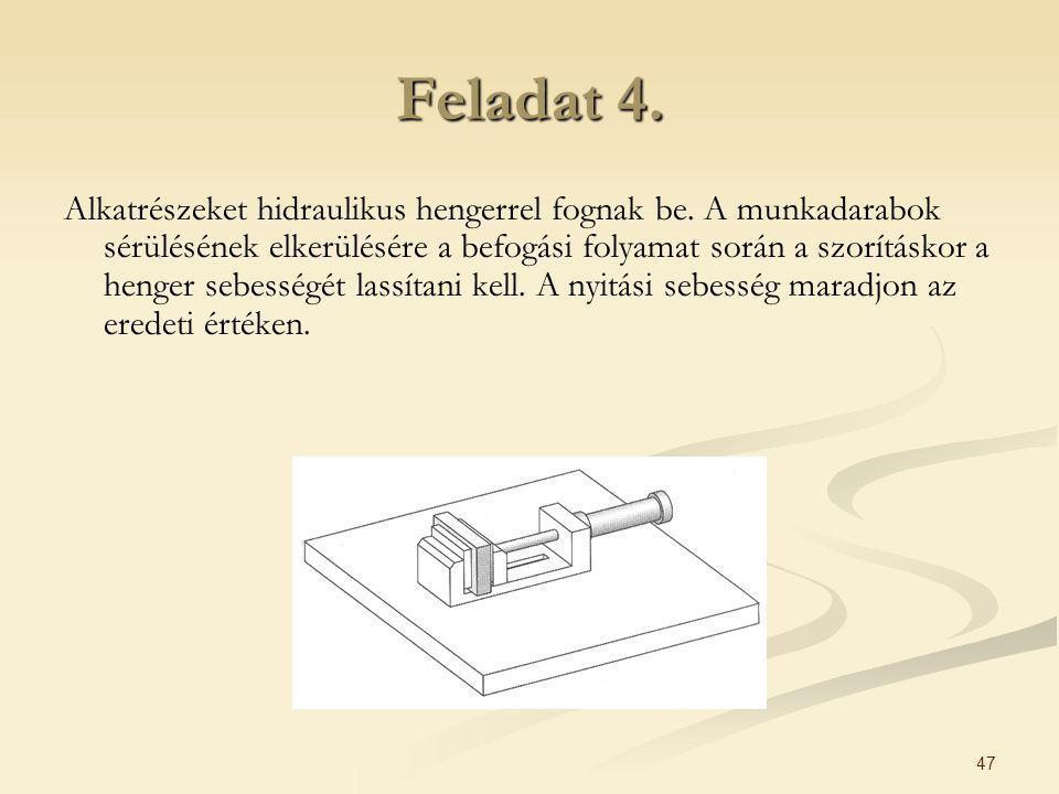 47 Feladat 4. Alkatrészeket hidraulikus hengerrel fognak be. A munkadarabok sérülésének elkerülésére a befogási folyamat során a szorításkor a henger