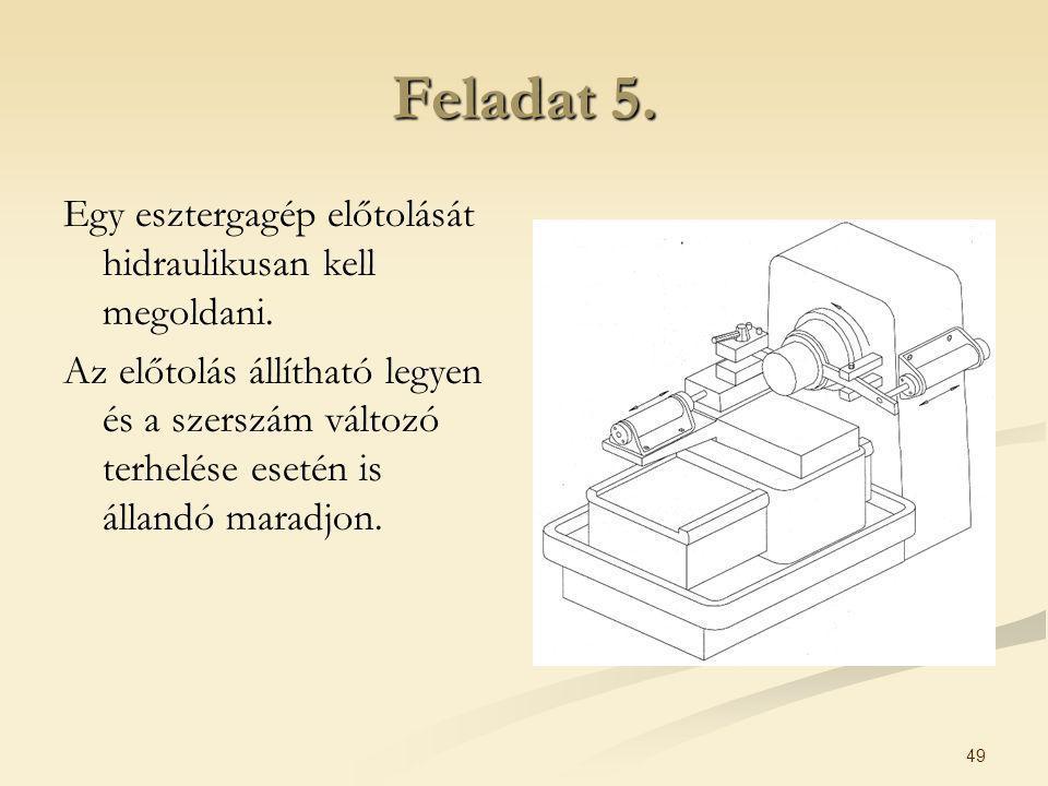 49 Feladat 5. Egy esztergagép előtolását hidraulikusan kell megoldani. Az előtolás állítható legyen és a szerszám változó terhelése esetén is állandó