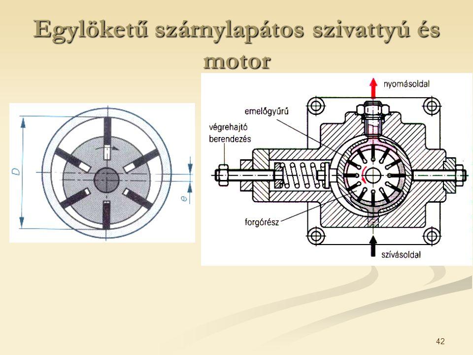 42 Egylöketű szárnylapátos szivattyú és motor