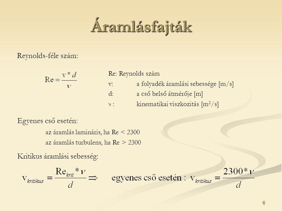 6 Áramlásfajták Reynolds-féle szám: Re: Reynolds szám v: a folyadék áramlási sebessége [m/s] d: a cső belső átmérője [m] ν : kinematikai viszkozitás [