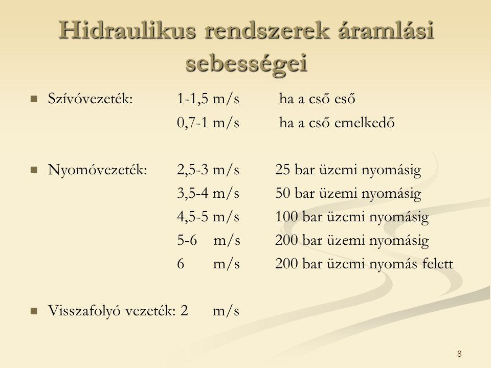 8 Hidraulikus rendszerek áramlási sebességei Szívóvezeték:1-1,5 m/s ha a cső eső 0,7-1 m/s ha a cső emelkedő Nyomóvezeték:2,5-3 m/s 25 bar üzemi nyomá