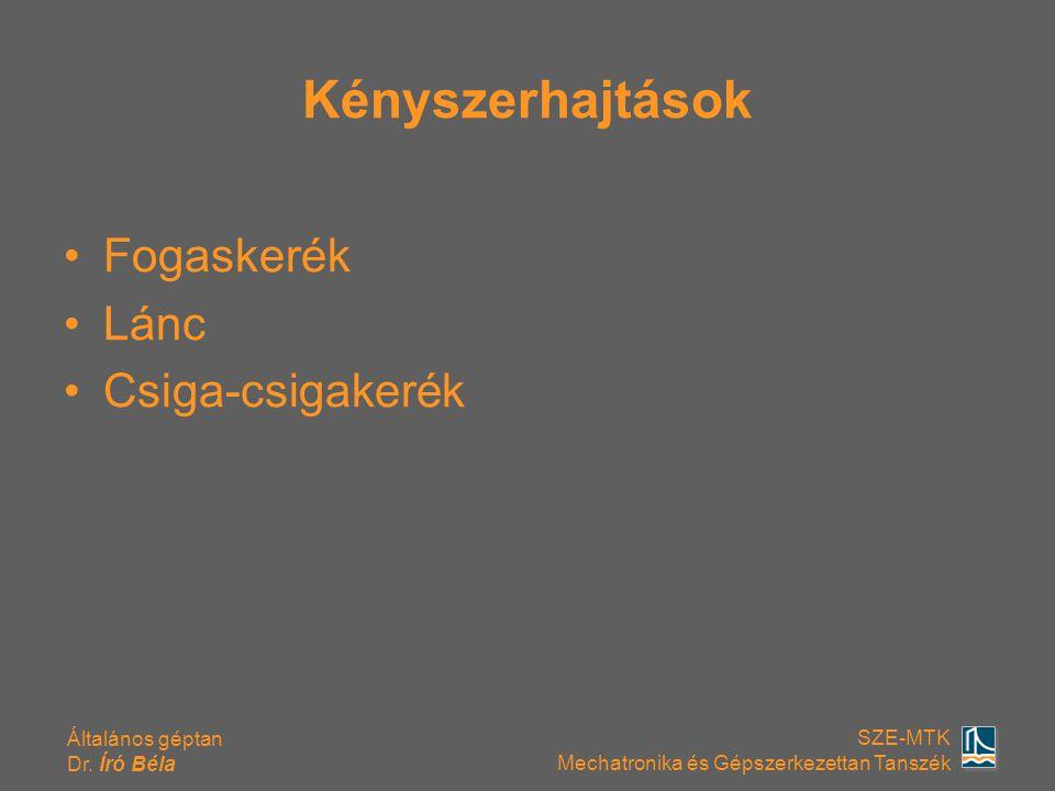 Általános géptan Dr. Író Béla SZE-MTK Mechatronika és Gépszerkezettan Tanszék Kényszerhajtások Fogaskerék Lánc Csiga-csigakerék