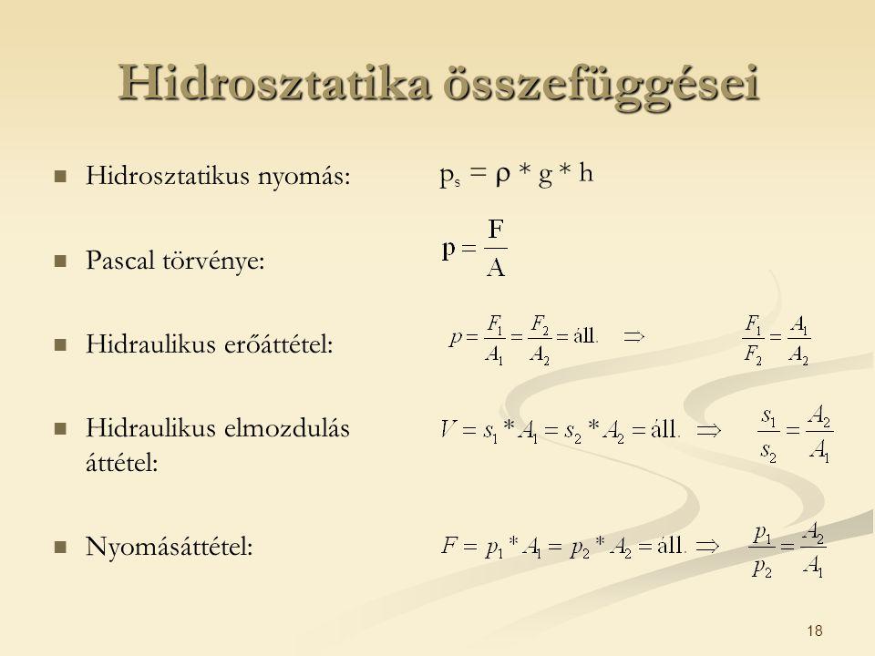 18 Hidrosztatika összefüggései Hidrosztatikus nyomás: Pascal törvénye: Hidraulikus erőáttétel: Hidraulikus elmozdulás áttétel: Nyomásáttétel: p s = 