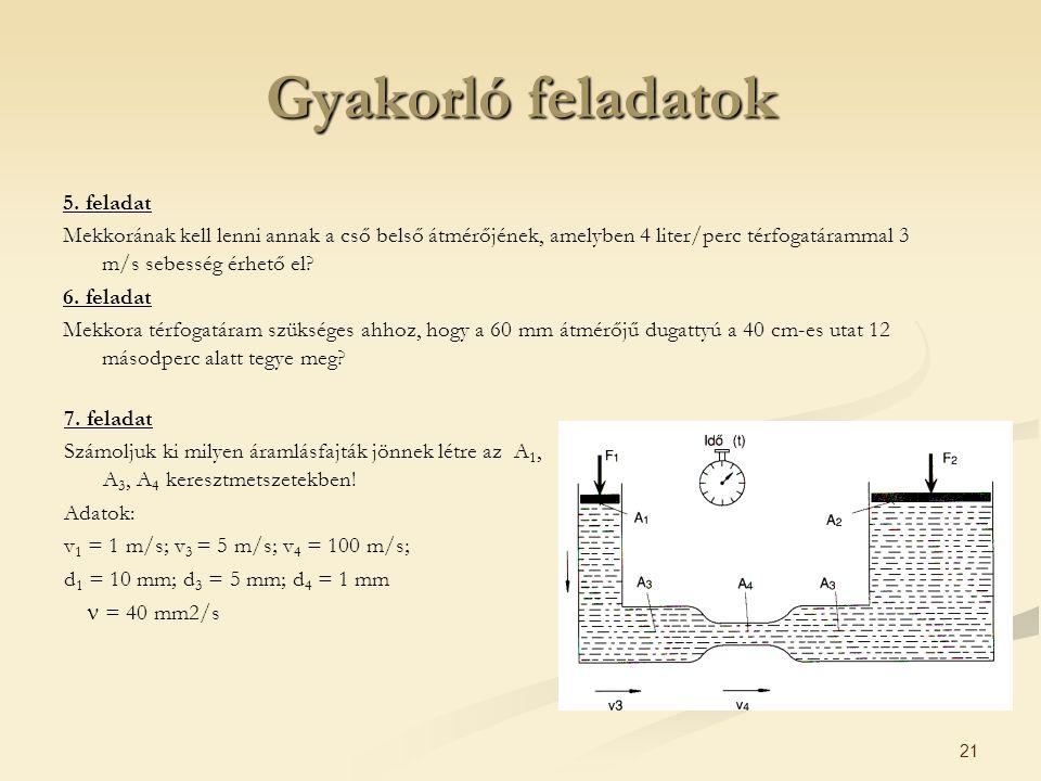21 Gyakorló feladatok 5. feladat Mekkorának kell lenni annak a cső belső átmérőjének, amelyben 4 liter/perc térfogatárammal 3 m/s sebesség érhető el?