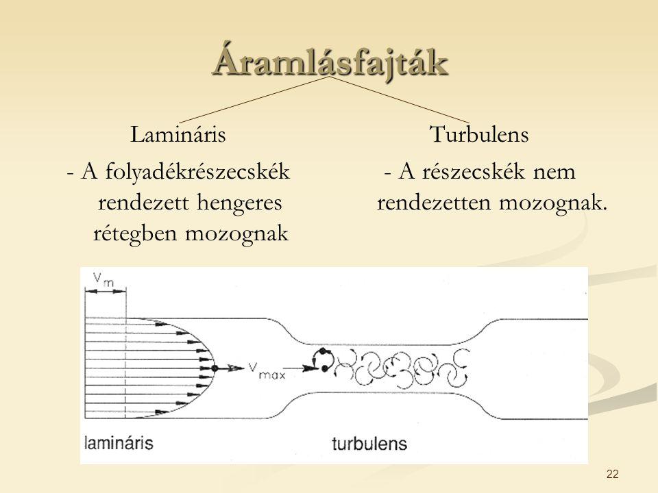 22 Áramlásfajták Lamináris - A folyadékrészecskék rendezett hengeres rétegben mozognak Turbulens - A részecskék nem rendezetten mozognak.
