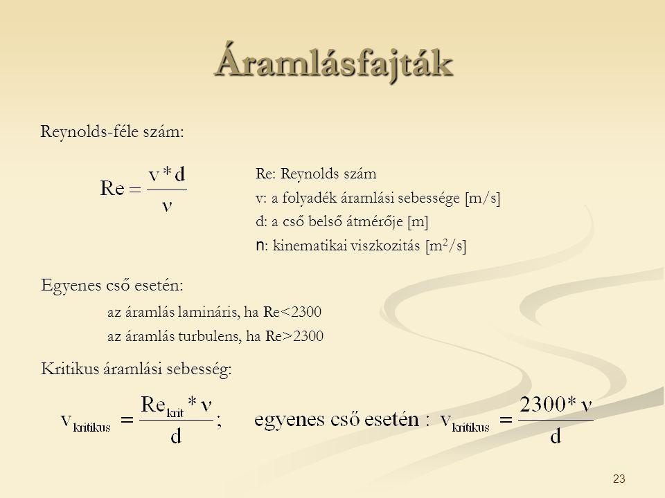 23 Áramlásfajták Reynolds-féle szám: Re: Reynolds szám v: a folyadék áramlási sebessége [m/s] d: a cső belső átmérője [m] n : kinematikai viszkozitás