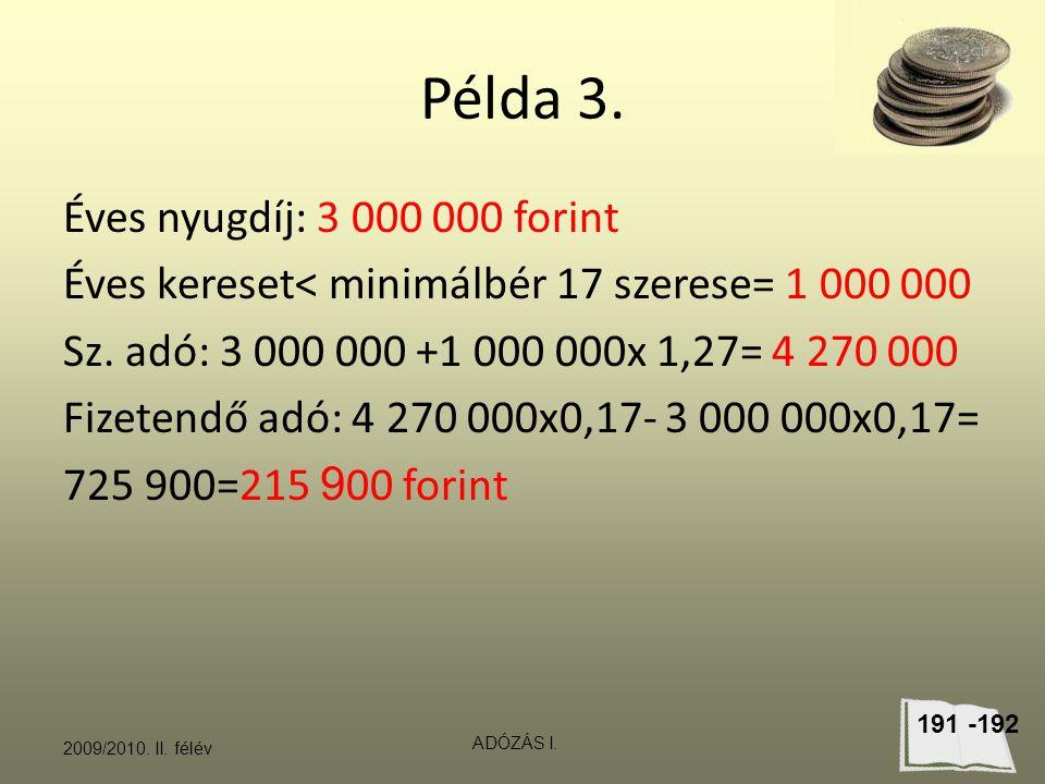 Példa 3.Éves nyugdíj: 3 000 000 forint Éves kereset< minimálbér 17 szerese= 1 000 000 Sz.