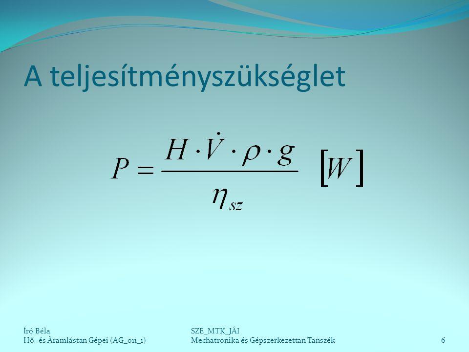 Volumetrikus hatásfok Mechanikai hatásfok Hidraulikai hatásfok (csak áramlástani szivattyúk esetében) A szivattyúhatásfok a három részhatásfok szorzata.