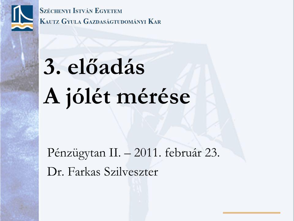 3. előadás A jólét mérése Pénzügytan II. – 2011. február 23. Dr. Farkas Szilveszter