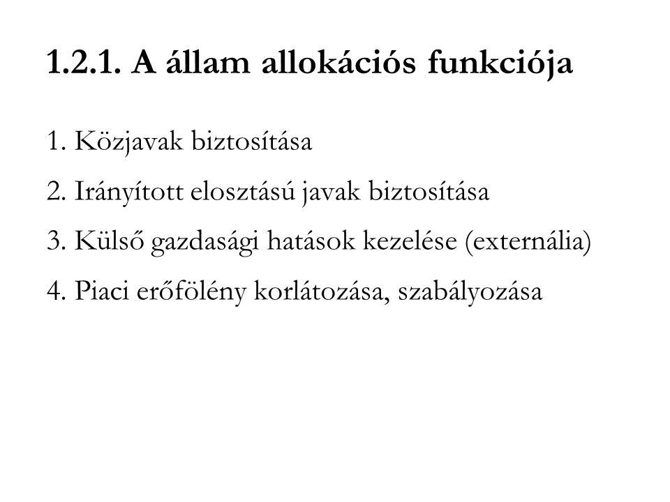 1.2.1. A állam allokációs funkciója 1. Közjavak biztosítása 2. Irányított elosztású javak biztosítása 3. Külső gazdasági hatások kezelése (externália)