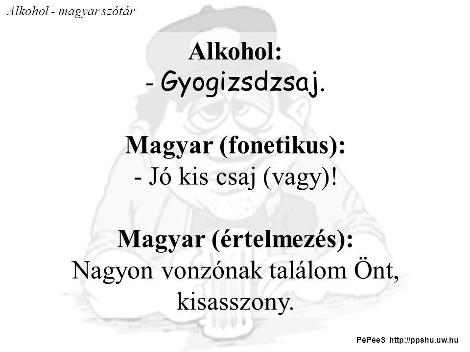 Alkohol - magyar szótár Alkohol: - Gyogizsdzsaj. Magyar (fonetikus): - Jó kis csaj (vagy)! Magyar (értelmezés): Nagyon vonzónak találom Önt, kisasszon