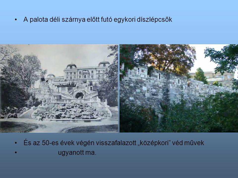 """A várkertek Palota téri ( ma Dózsa György ) kapuja …és a """"középkori torony ma épült 1957-ben."""
