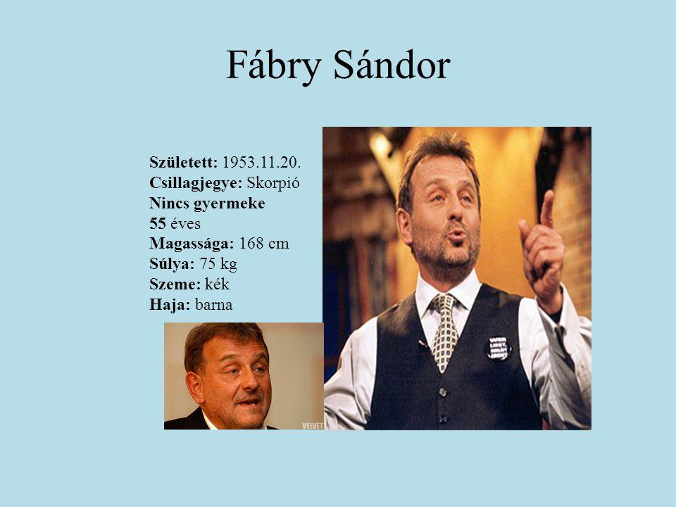 Fábry Sándor Született: 1953.11.20. Csillagjegye: Skorpió Nincs gyermeke 55 éves Magassága: 168 cm Súlya: 75 kg Szeme: kék Haja: barna