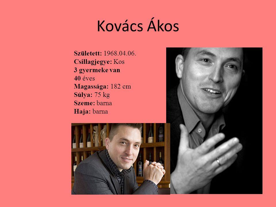 Kovács Ákos Született: 1968.04.06. Csillagjegye: Kos 3 gyermeke van 40 éves Magassága: 182 cm Súlya: 75 kg Szeme: barna Haja: barna