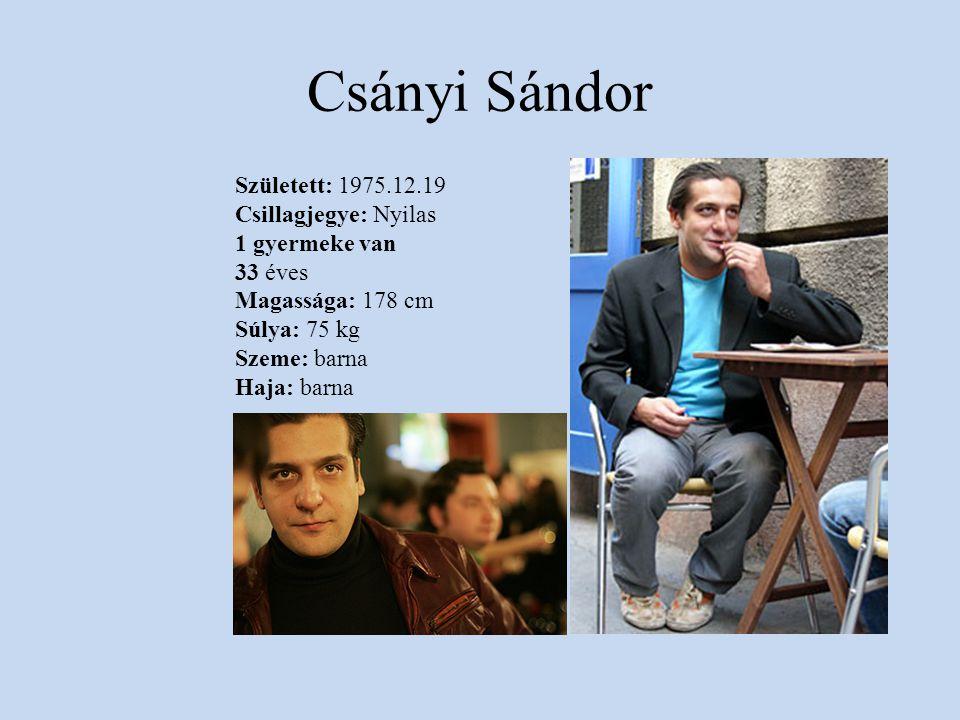 Csányi Sándor Született: 1975.12.19 Csillagjegye: Nyilas 1 gyermeke van 33 éves Magassága: 178 cm Súlya: 75 kg Szeme: barna Haja: barna