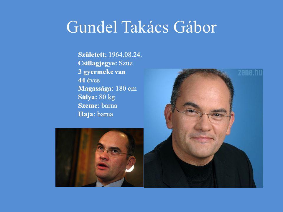 Gundel Takács Gábor Született: 1964.08.24. Csillagjegye: Szűz 3 gyermeke van 44 éves Magassága: 180 cm Súlya: 80 kg Szeme: barna Haja: barna