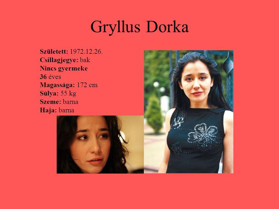 Gryllus Dorka Született: 1972.12.26. Csillagjegye: bak Nincs gyermeke 36 éves Magassága: 172 cm Súlya: 55 kg Szeme: barna Haja: barna
