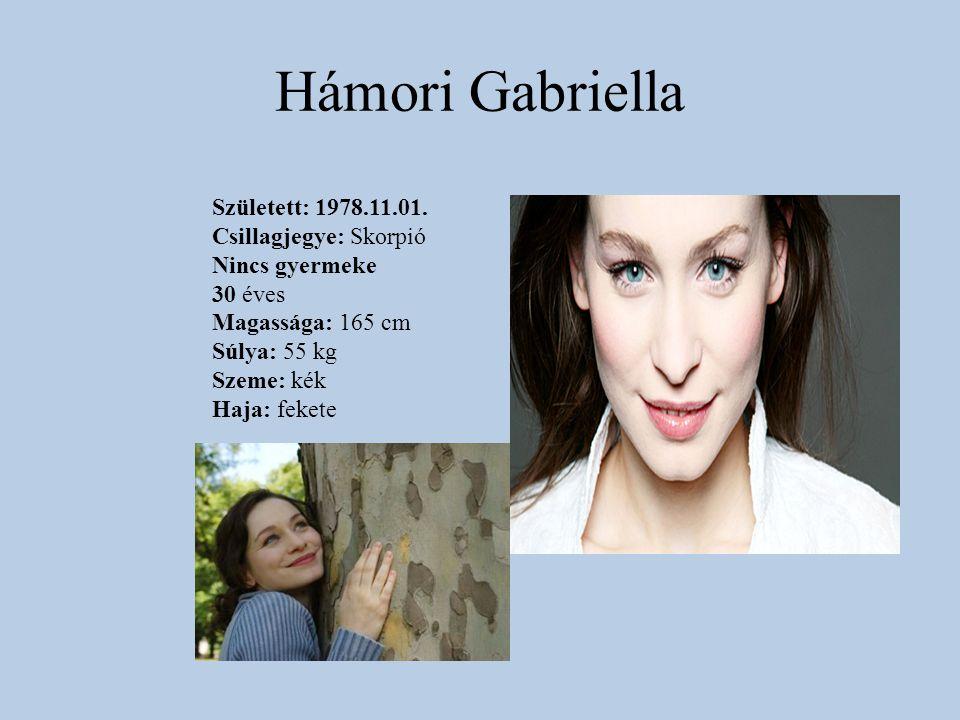 Hámori Gabriella Született: 1978.11.01. Csillagjegye: Skorpió Nincs gyermeke 30 éves Magassága: 165 cm Súlya: 55 kg Szeme: kék Haja: fekete
