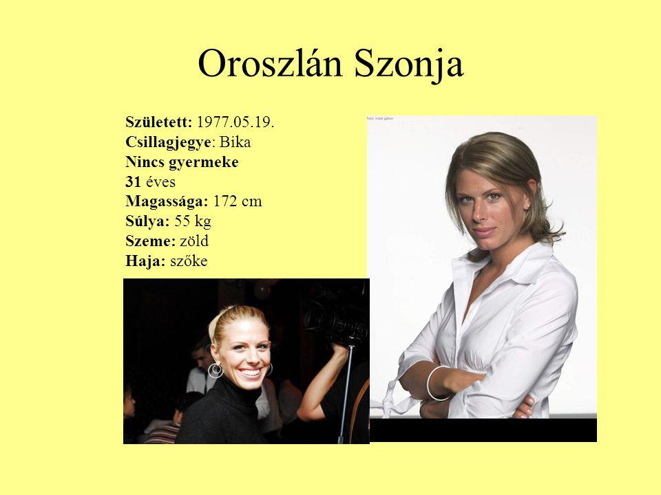 Oroszlán Szonja Született: 1977.05.19. Csillagjegye: Bika Nincs gyermeke 31 éves Magassága: 172 cm Súlya: 55 kg Szeme: zöld Haja: szőke