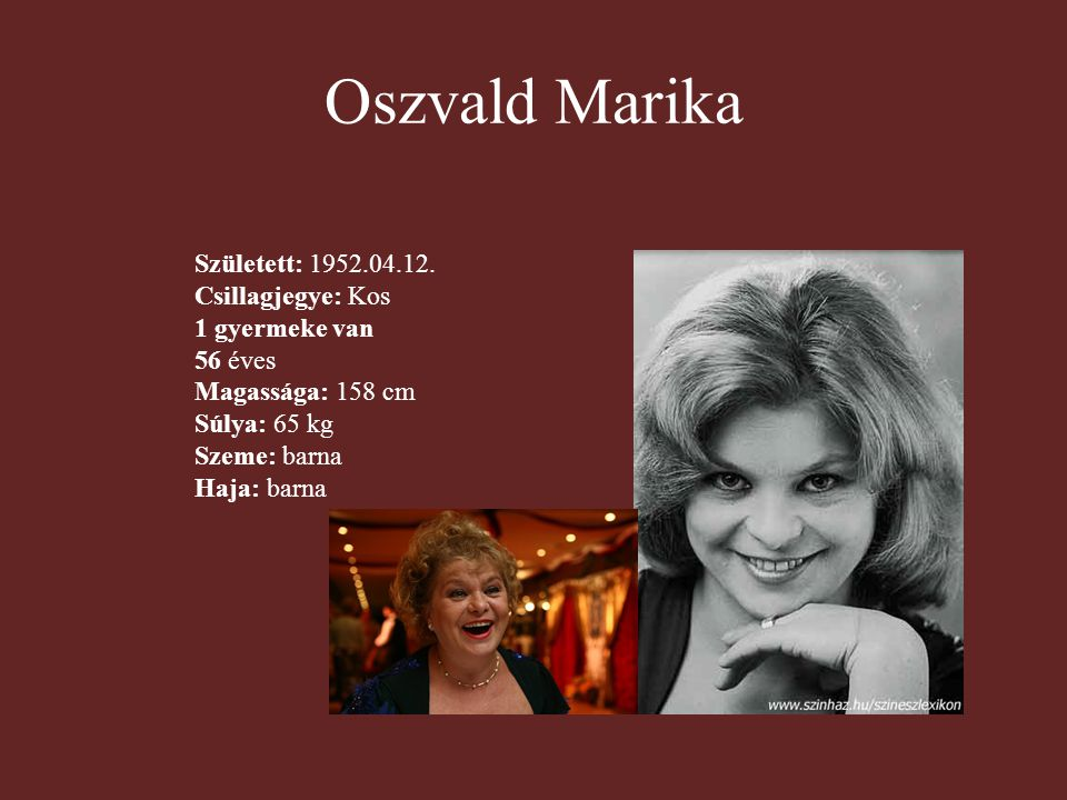 Oszvald Marika Született: 1952.04.12. Csillagjegye: Kos 1 gyermeke van 56 éves Magassága: 158 cm Súlya: 65 kg Szeme: barna Haja: barna