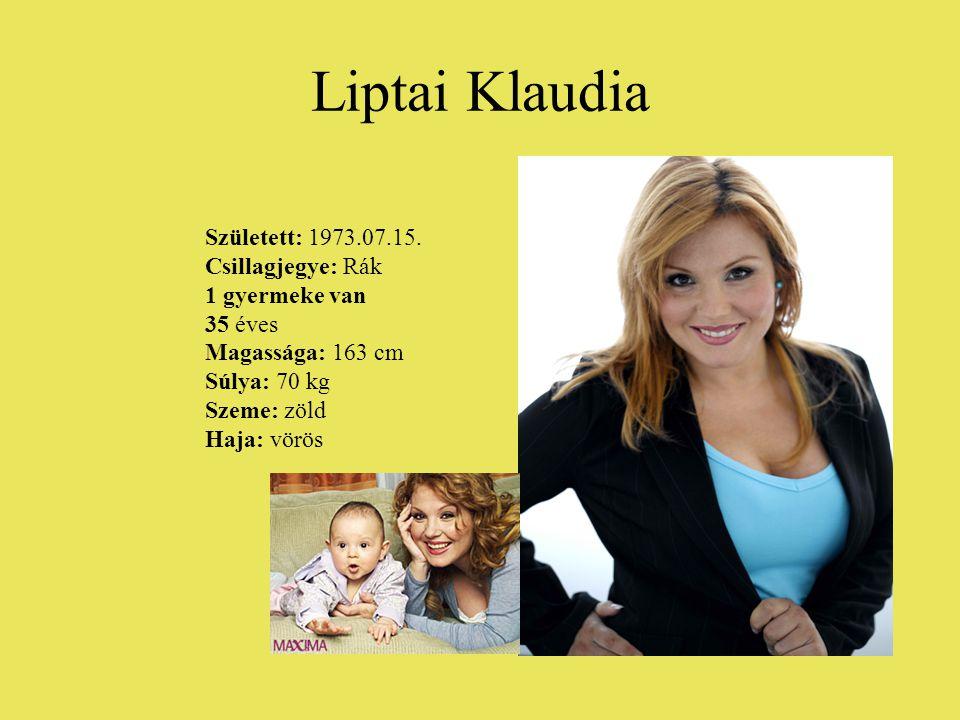 Liptai Klaudia Született: 1973.07.15. Csillagjegye: Rák 1 gyermeke van 35 éves Magassága: 163 cm Súlya: 70 kg Szeme: zöld Haja: vörös
